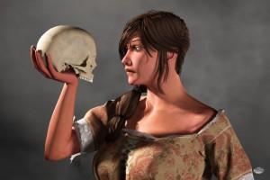 Woman Examining a Skull