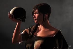 Woman Facing a Skull
